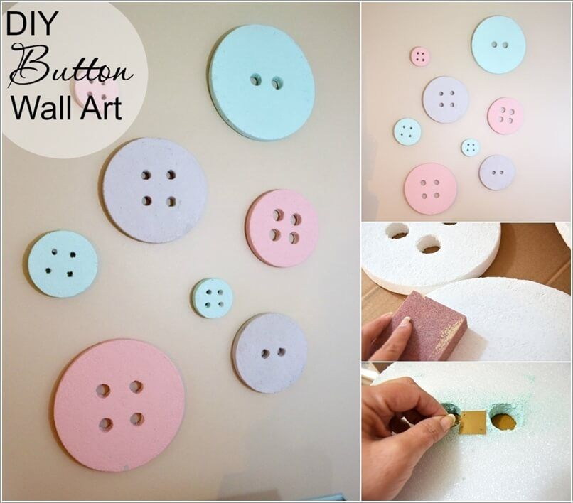 craft this cute button wall art for a baby nursery with painted styrofoam discs