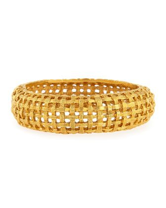 Jose & Maria Barrera Hammered Golden Bamboo Hinge Bracelet oAdcP