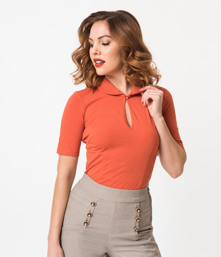 1de28a9396 Retro Style Orange Rust Cotton Stretch Short Sleeve Keynote Top ...