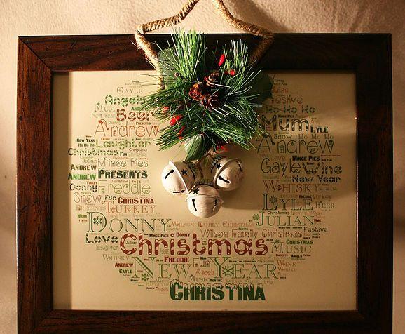 Festive Word Art Wreath, complete with jingle bells!