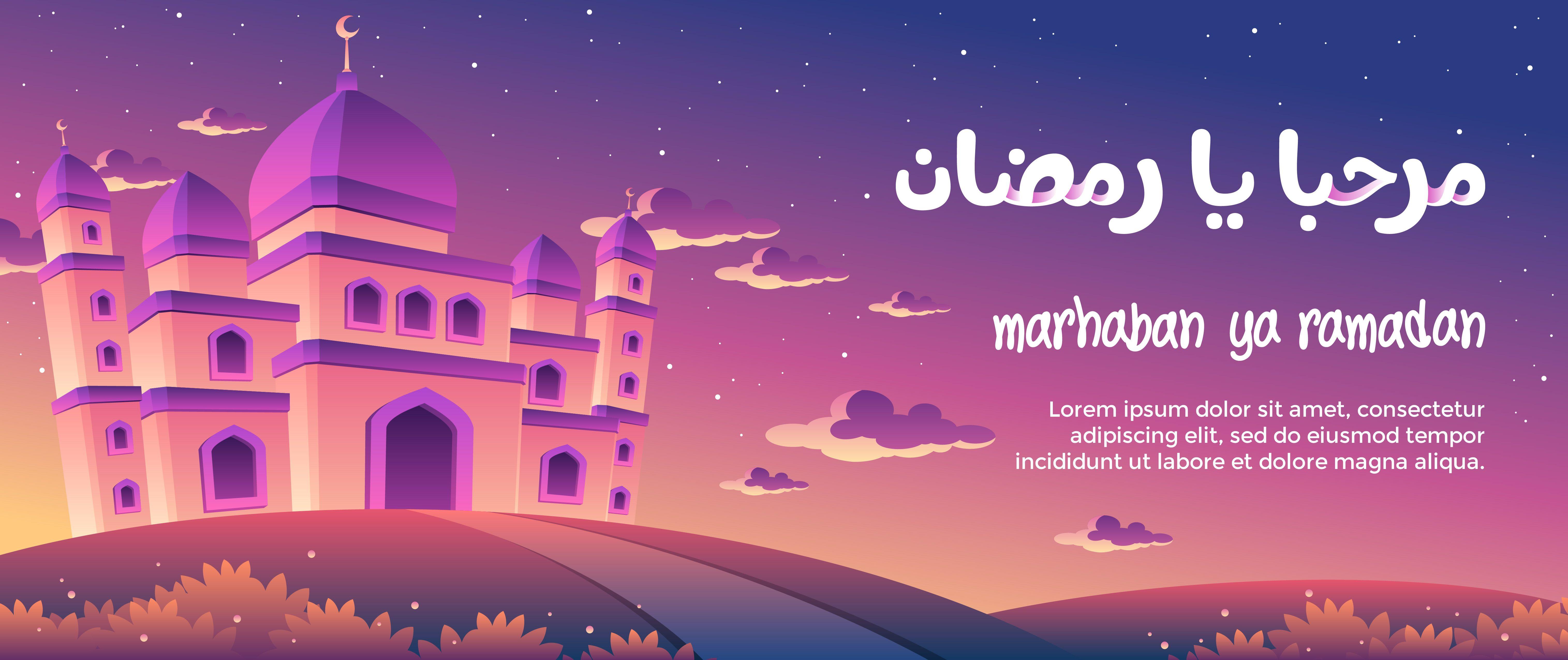 Marhaban Ya Ramadan With A Magnificent Mosque At Dusk Greeting Card Spanduk Gambar
