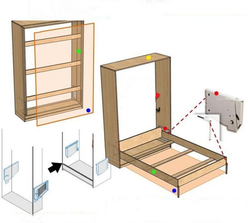 Diy Murphy Wall Bed 5 Springs Mechanism Hardware Kit Fold Down Bed