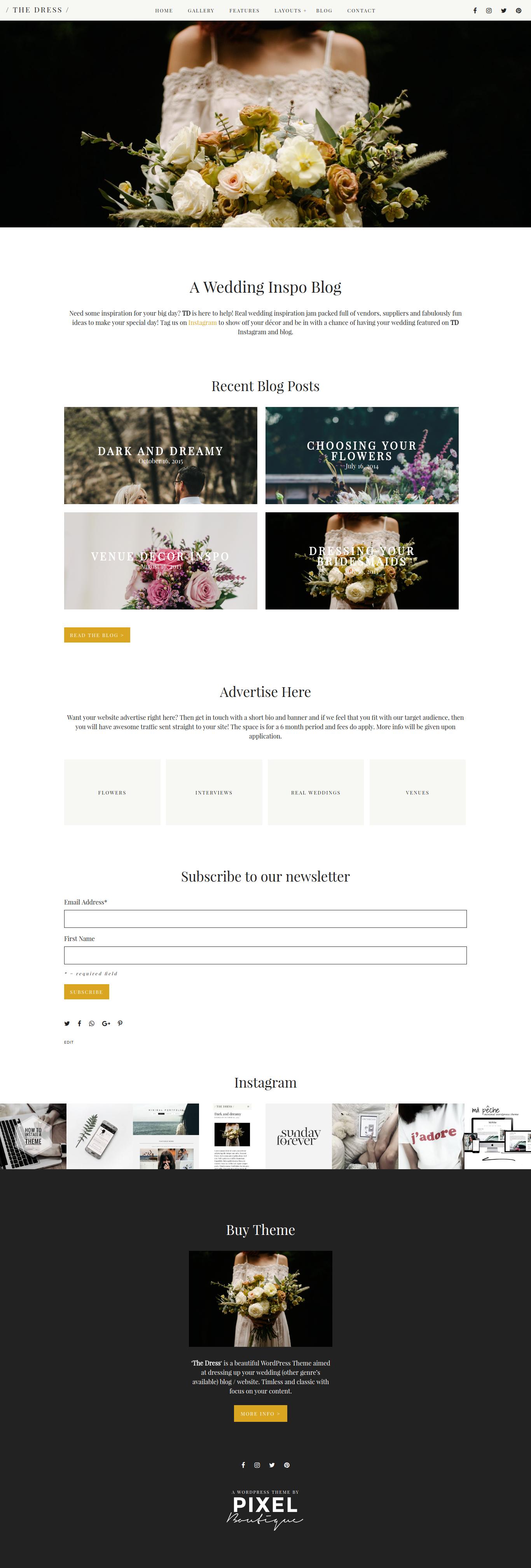 THE DRESS Wedding Blog WordPress Theme #Wedding #Blog #Bride ...