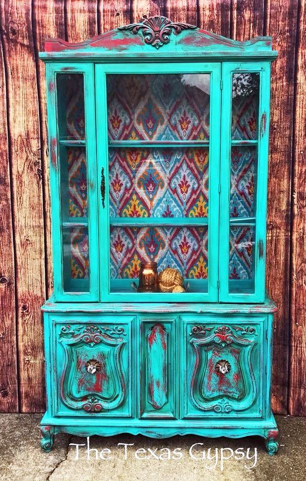 Photo of Boho Chic Hutch in Patina Green & Holiday Red Milk Paint
