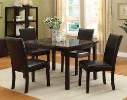 Comtemporary Dinette With Marble Top Dining Table Dinette Sets