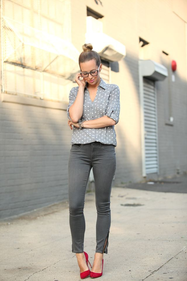Mid-Rise Denim Legging: Express c/o | Top: Express c/o | Shoes: Manolo Blahnik | Frames: Madewell (similar) | Nails: Deborah Lippmann 'Stop & Stare' | Lips: MAC Pink Nouveau  After spotting a head-to-