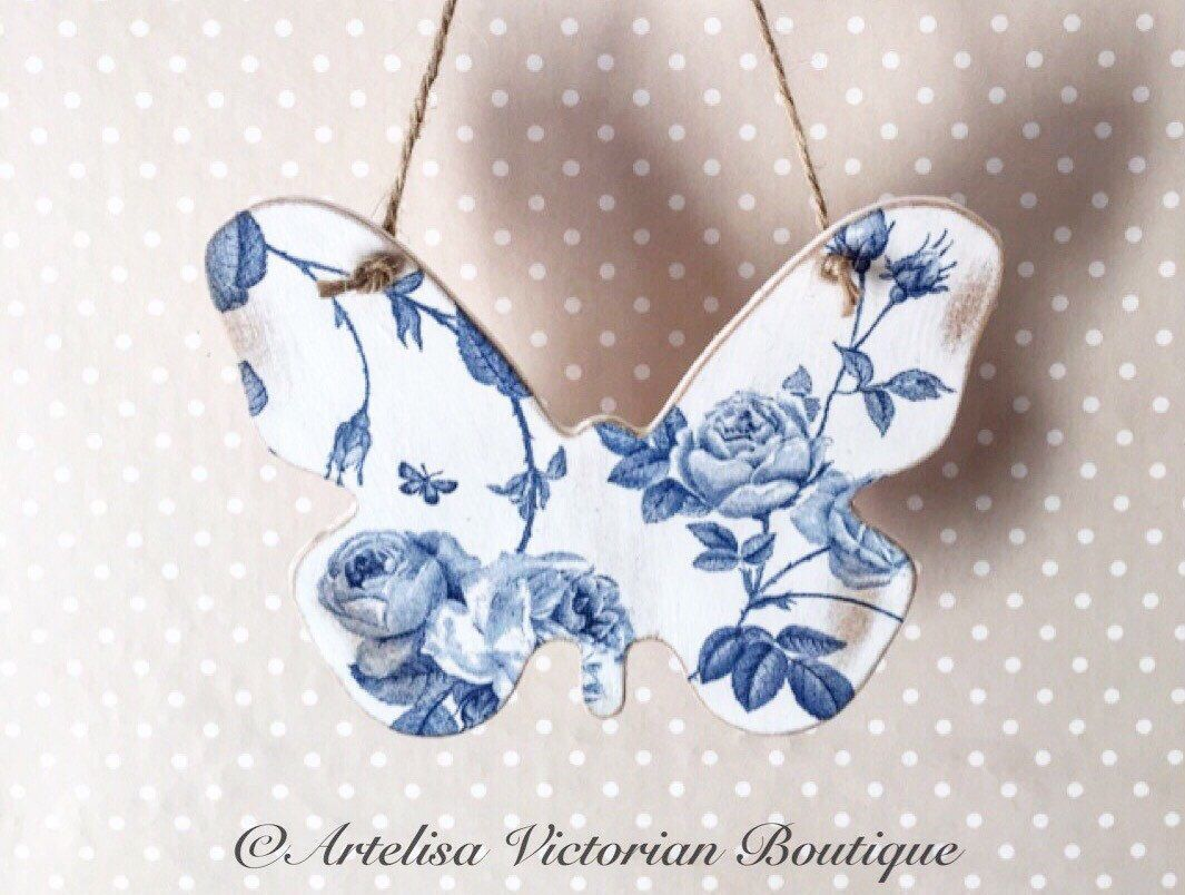 Wooden Erfly Plaque Victorian Vintage Fl Wall Hanging Wedding Gift Flower For Her Mum