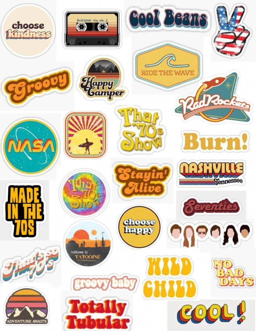 It's just a graphic of Aesthetic Printable Stickers intended for 70's