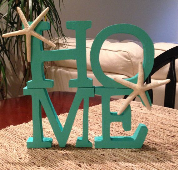 Beach Theme Decorations For Home: HOME Wood Letters Beach Decor Starfish By KOCapeDesigns On