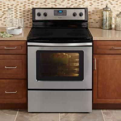 whirlpool 48 cu ft electric range with oven in stainless steel