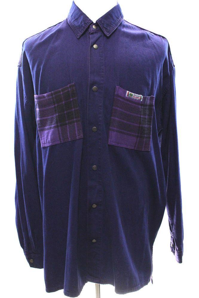 Vintage 90s Cross Colours Purple Denim Jean Hip Hop Shirt Rap Patch Long Sleeve