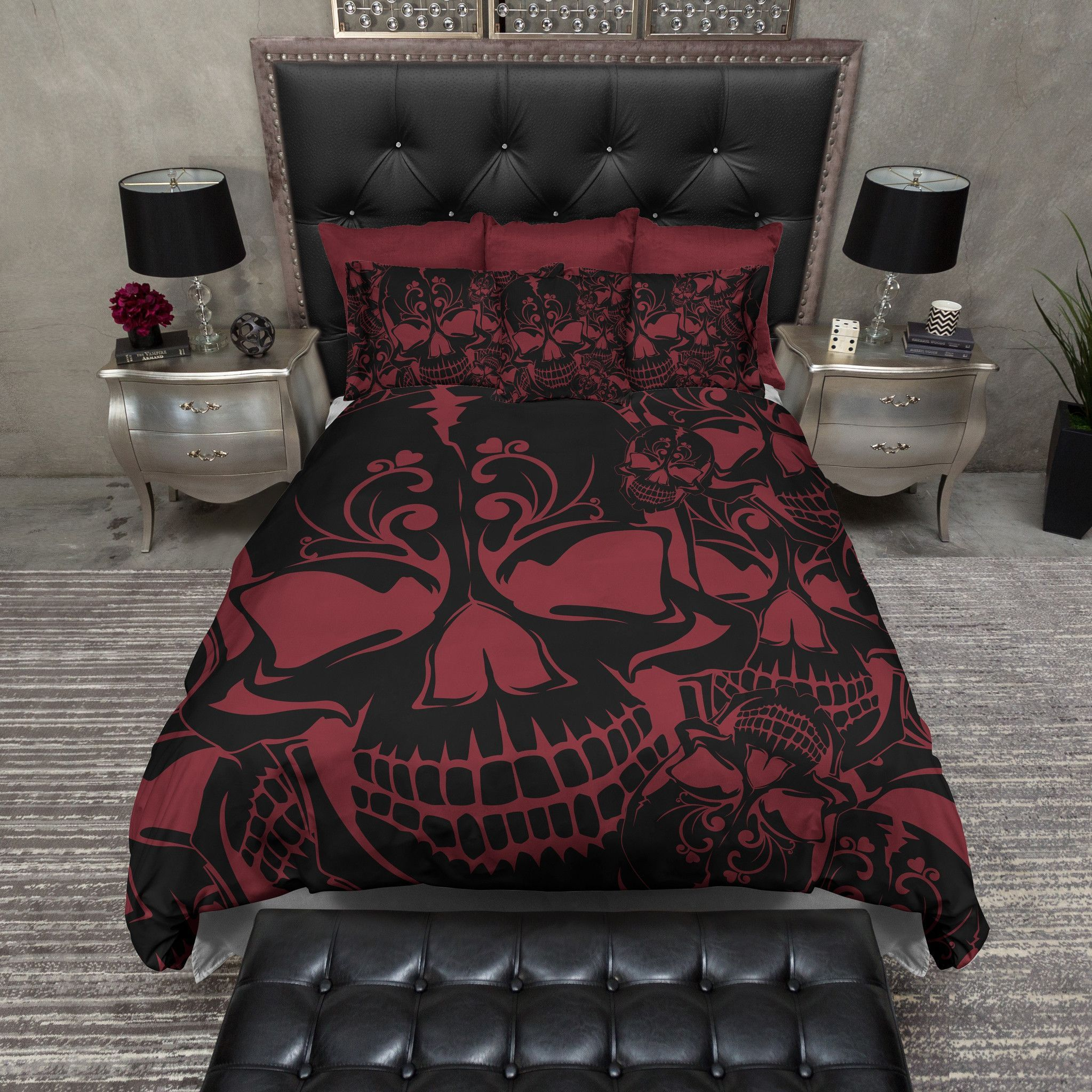 Red And Black Collage Skull Bedding Duvet Bedding Bedding Sets And Duvet