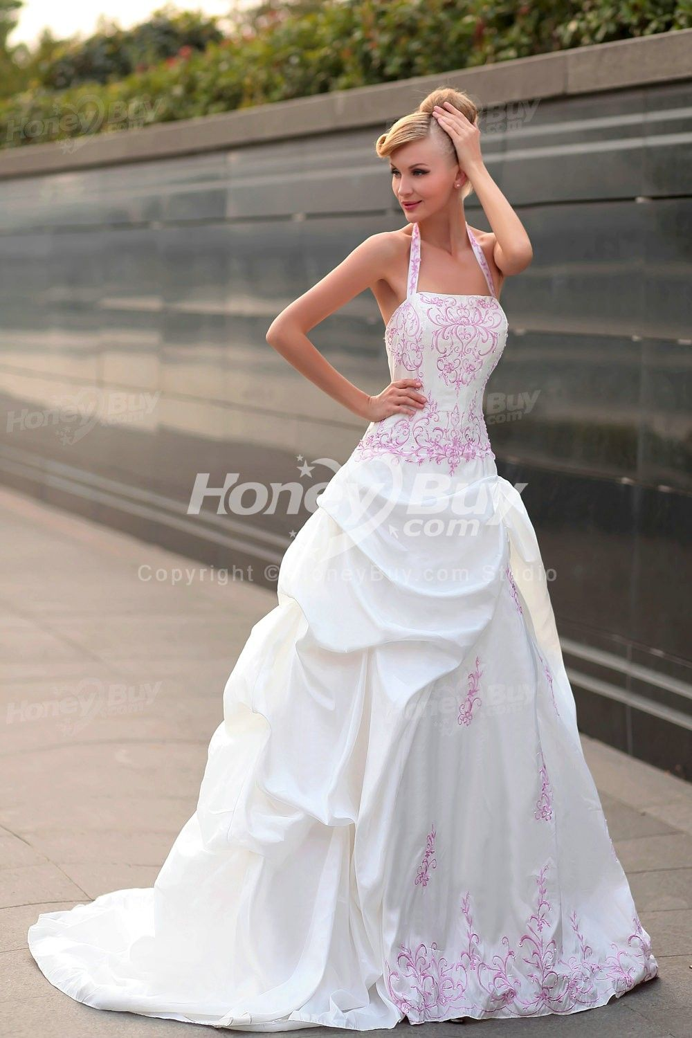 Halter A Line Bridal Gown Wedding Dress With Color | Justin and ...