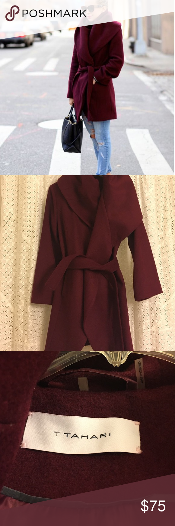 ✨SALE✨// T Thari Marsala Wool Cocoon Coat // 😍love this deep Marsala coat! Such a gorgeous color for the fall and winter. Only worn once! Size small. 😍 T Tahari Jackets & Coats Pea Coats