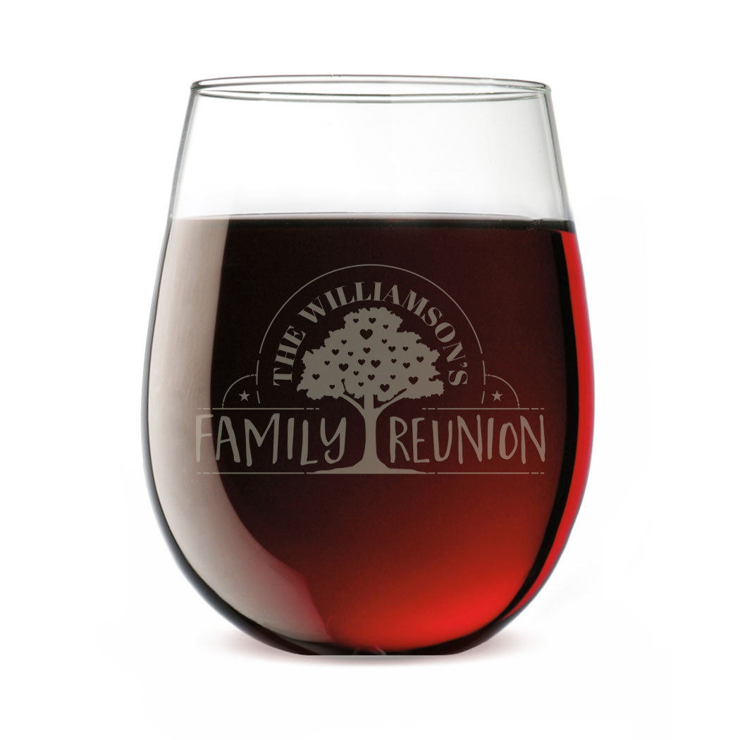 Personalized Stemless Wine Glass Family Reunion Family Reunion Wine Tasting Near Me Wine Sale