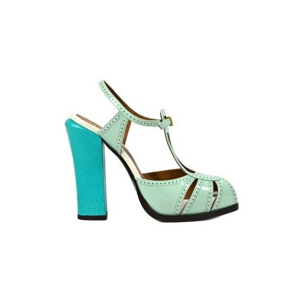 FENDI Duilio (13.995 RUB) ❤ liked on Polyvore featuring shoes, sandals, green, ankle strap shoes, fendi shoes, green leather shoes, ankle strap sandals and wide heel sandals