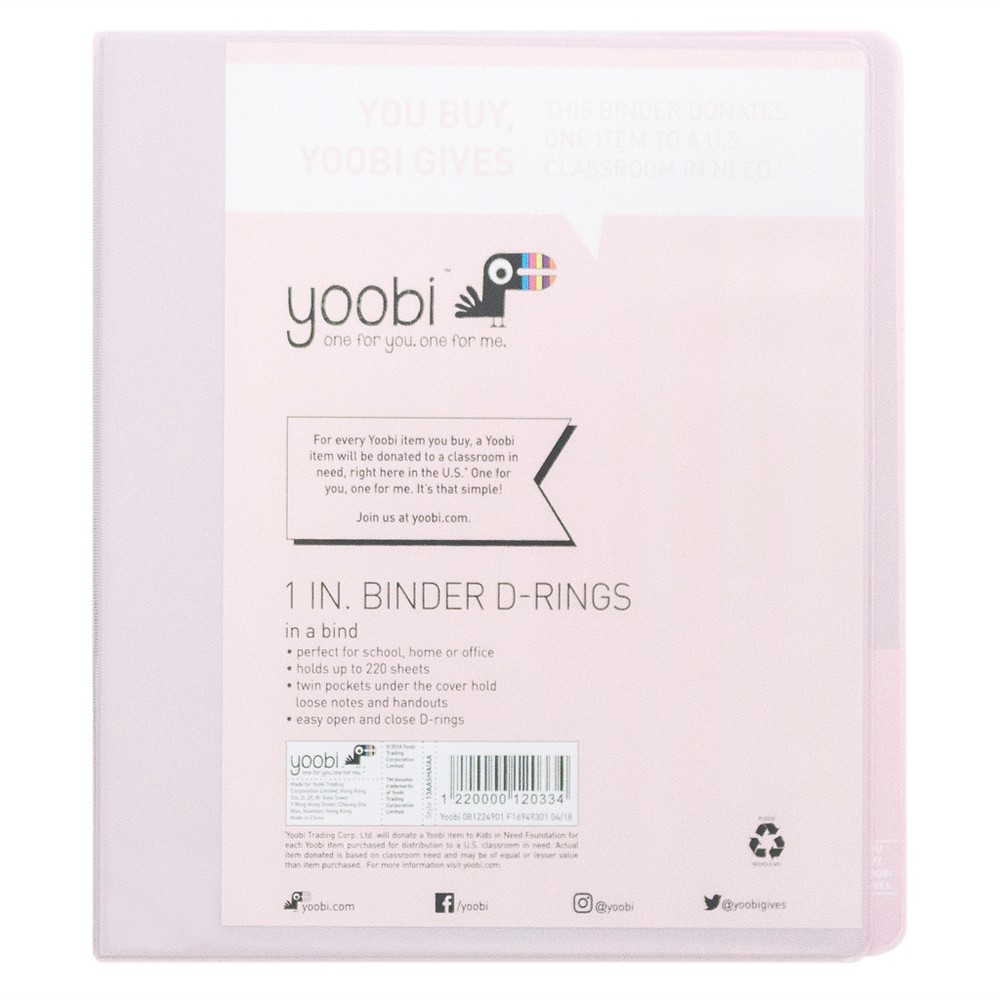 1 Ring Binder Light Pink - Yoobi