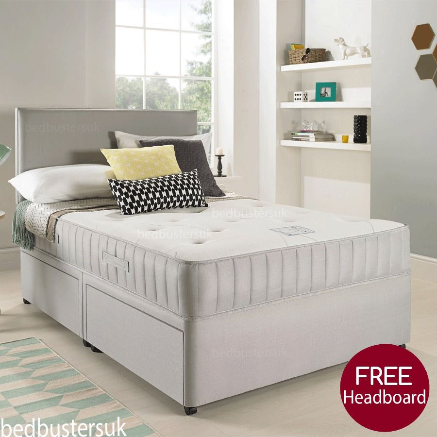 Divan Bed And Mattress Deals Suede Divan Bed Set Memory Mattress Headboard 3ft 4ft 4ft6