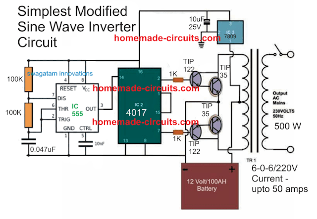 simplest modified sinewave inverter    circuit    using IC 4017