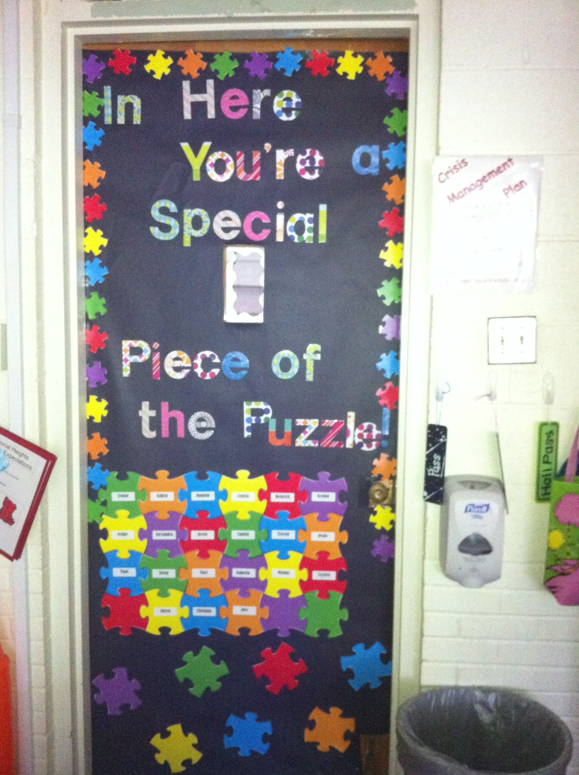Math Classroom Door Decoration Ideas ~ Puzzle classroom door decoration quot in here you re a