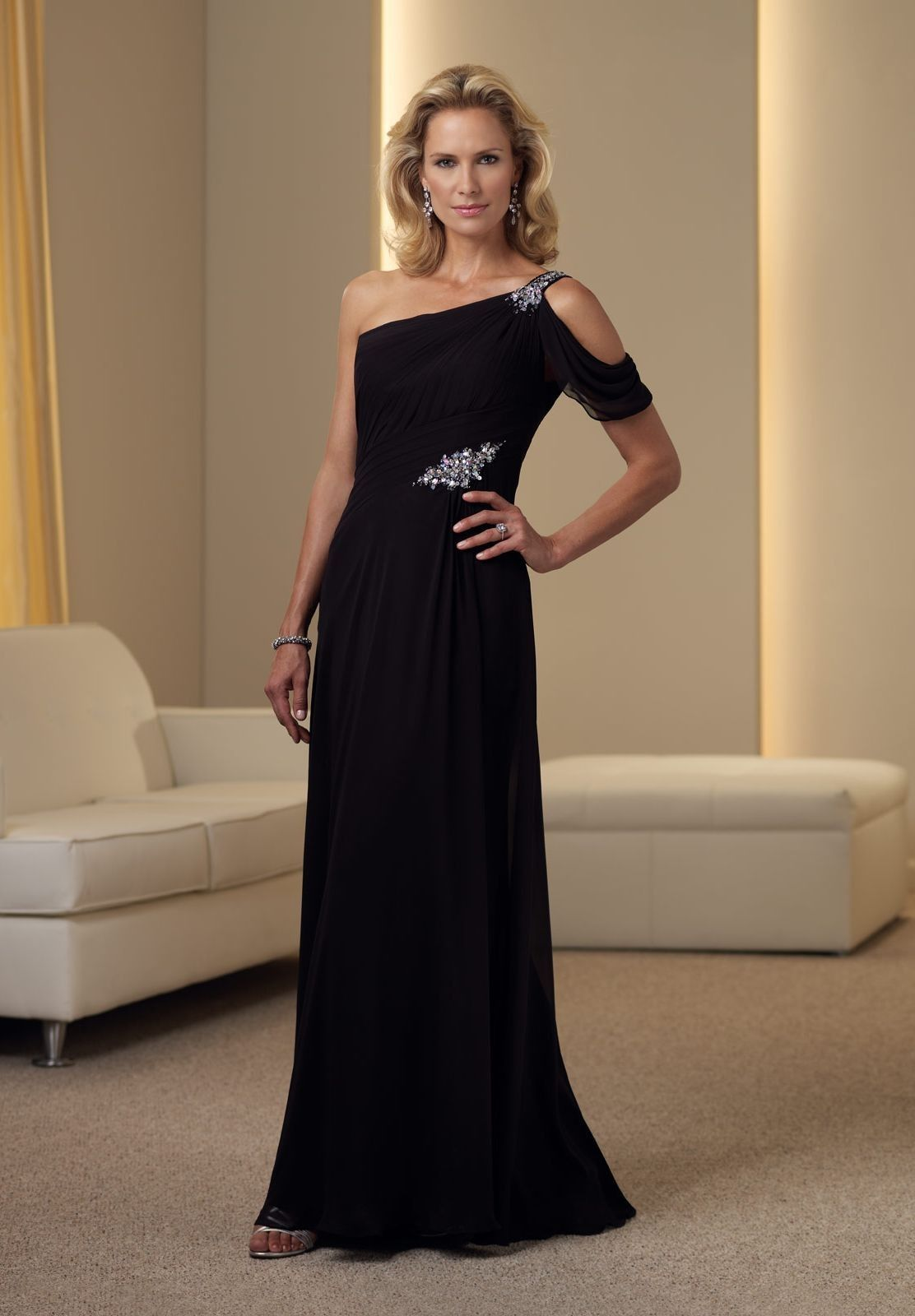 Mother Of The Bride Dress 443 Chiffon One Shoulder A Line Long