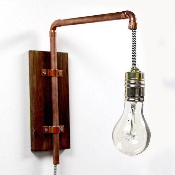 Diseño industrial de pared lámpara cobre por KupferKult en Etsy - lamparas para escaleras