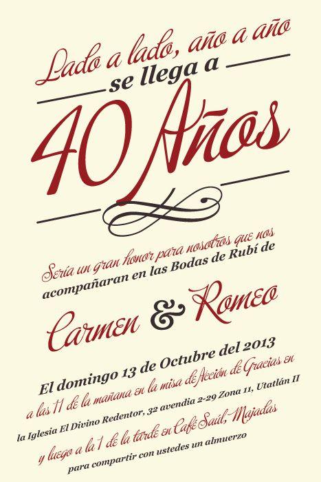 Bodas de ruby dise o de invitaci n event design for Decoracion 40 aniversario de bodas