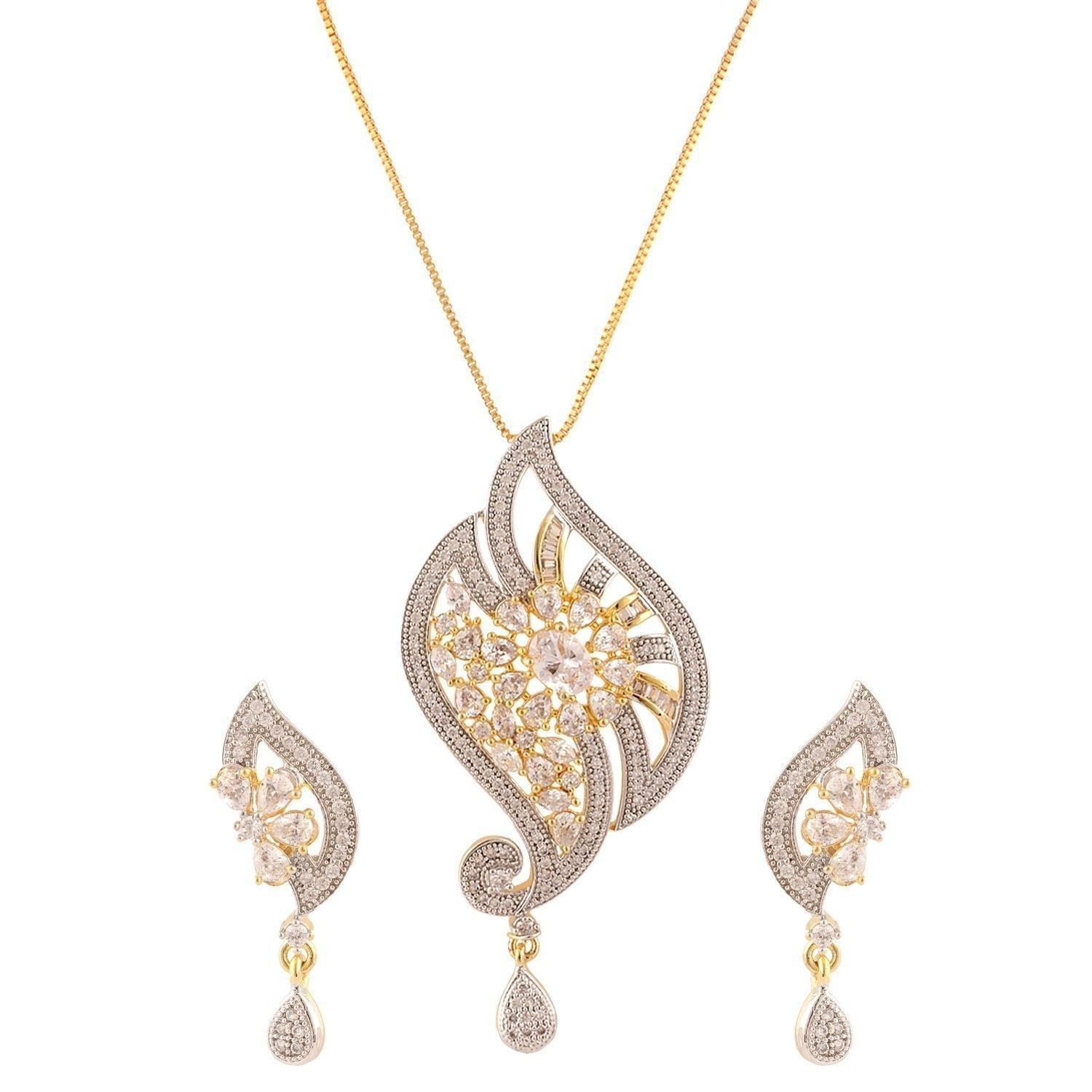 Womenus american diamond peacock cz zircon fashion jewellery set