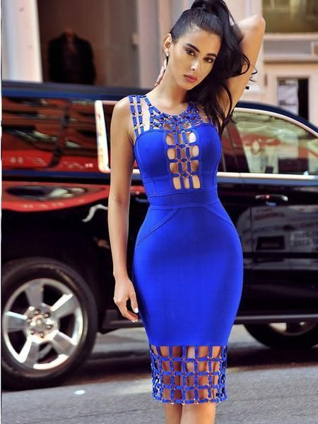 2017 New Style Two Shoulder Herve Leger Blue Bandage Dresses with Checks