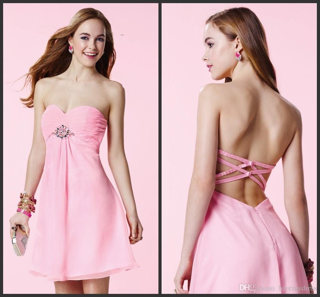 Short Homecoming Dresses Sexy Back Criss Cross Pink Dress Mini ...