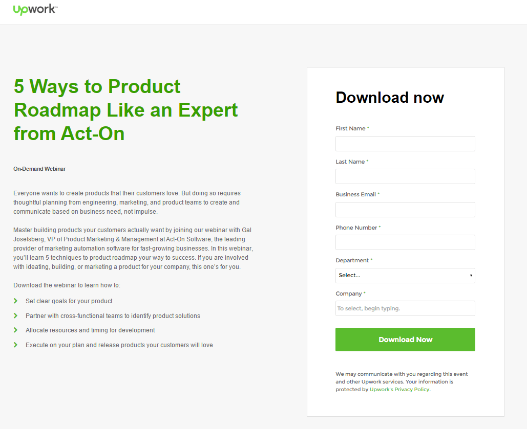 upwork has bulleted copy for easier reading and a benefit oriented