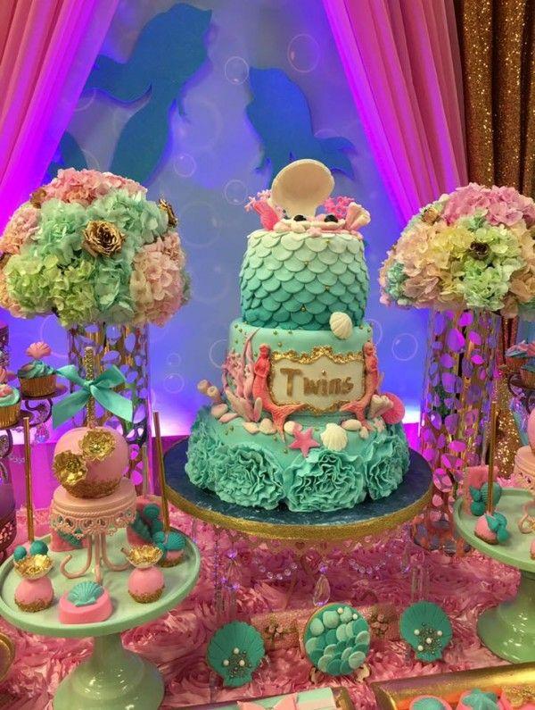 Lovely Mythical Mermaid Baby Shower Cake