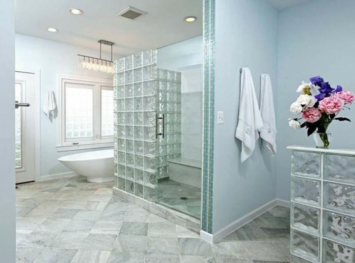 Pingl par glassblocksupply sur bathroom salle de bain pav de verre et douche bloc de verre - Cloison de douche ...
