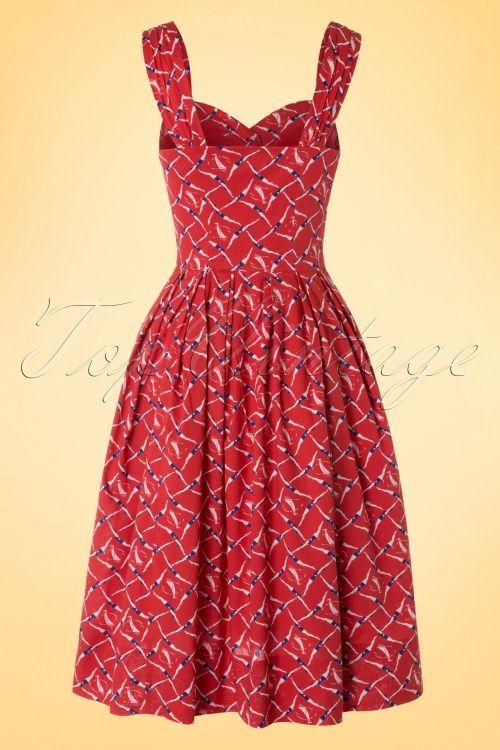 50s Jenny Synchronised Swimmers Dress In Red Dresses Swing Skirt New Dress