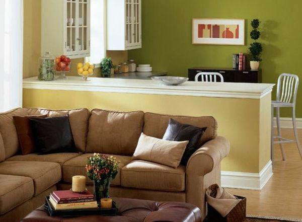 wohnzimmer und küche - grüne und gelbe wandfarbe - wohnzimmer ... - Wohnzimmer Mit Kuche Ideen