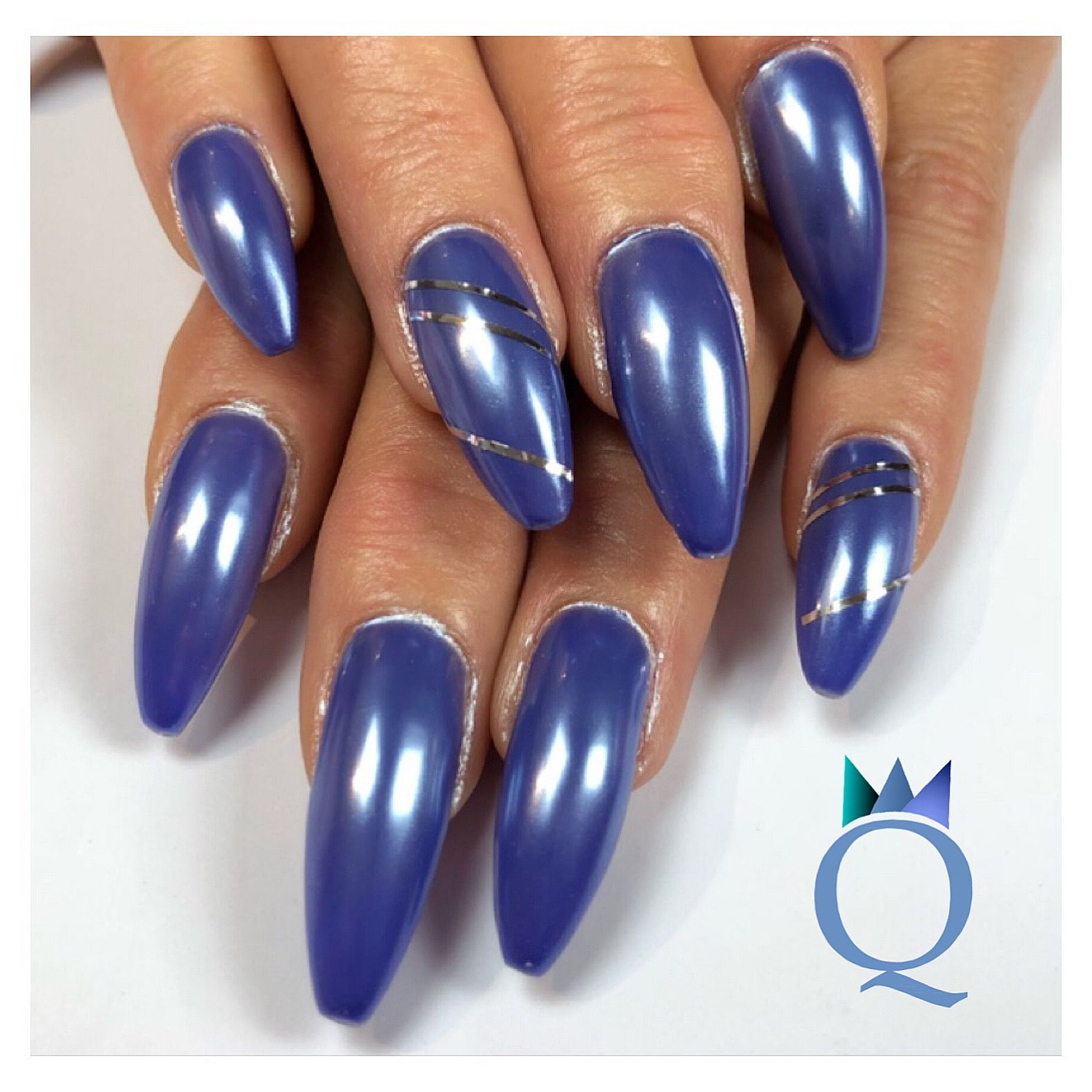 coffinnails #gelnails #nails #blue #chrome #ballerinaform #gelnägel ...