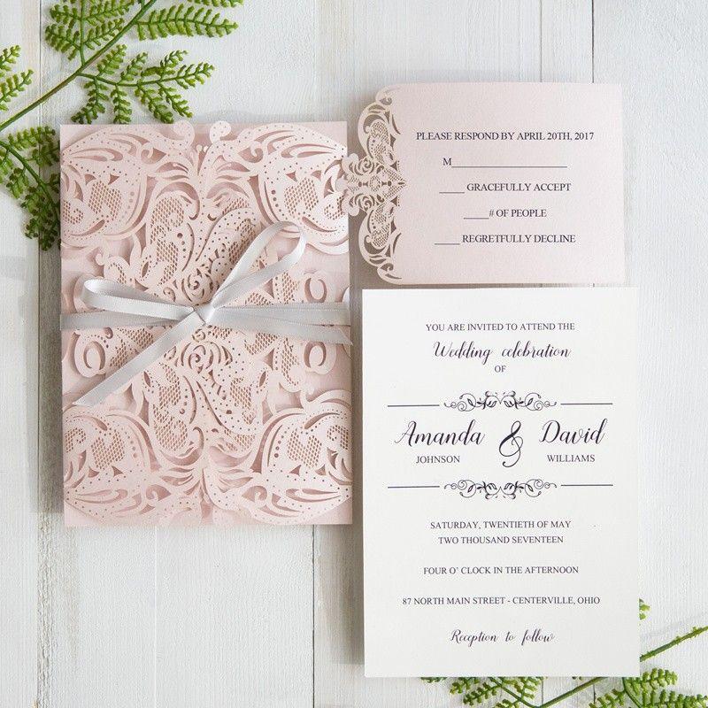 elegant blush pink laser cut wedding invitation with gray band swws034 - Pink Wedding Invitations