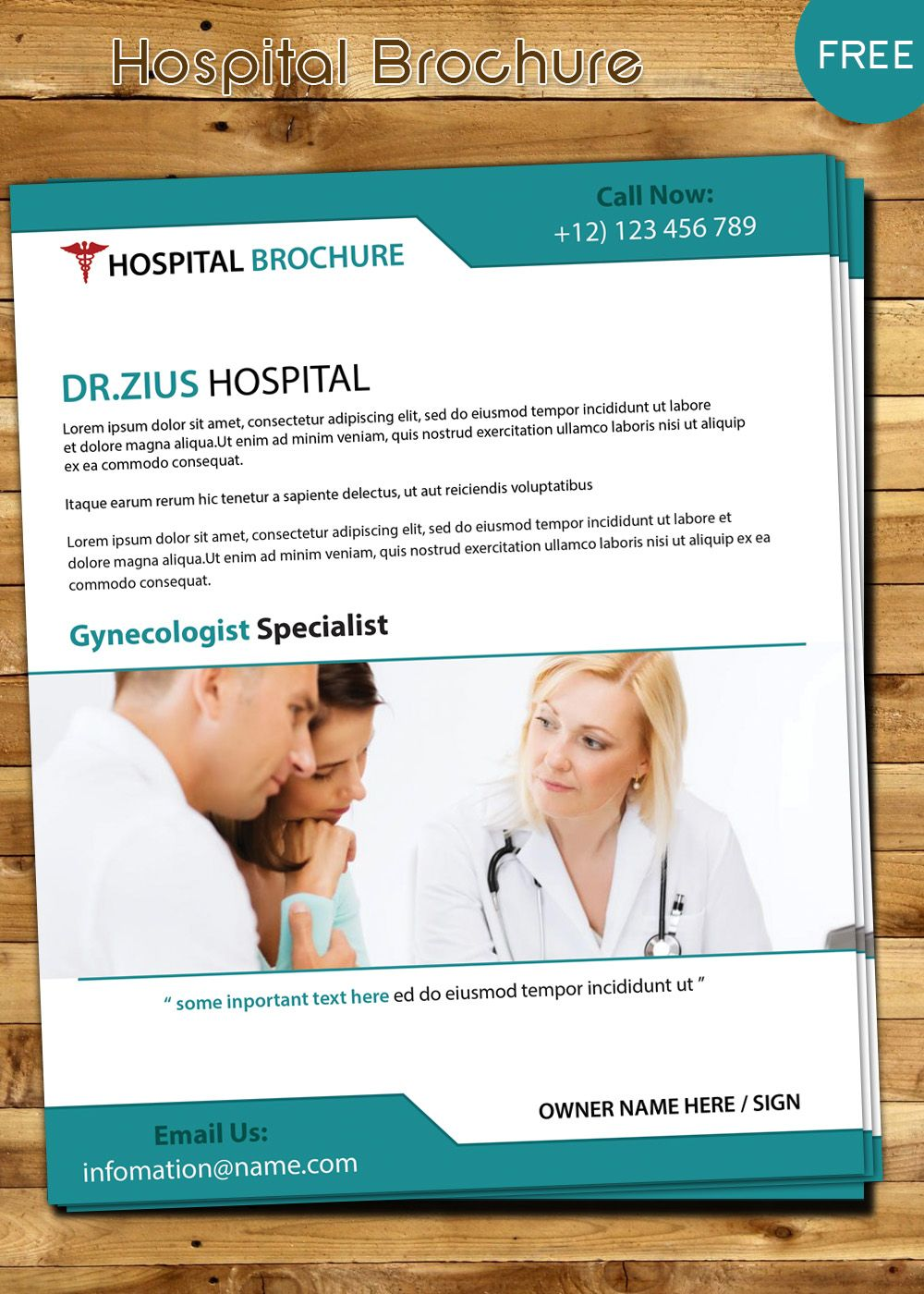 Free Hospital Brochure Template Download  Brochure Design