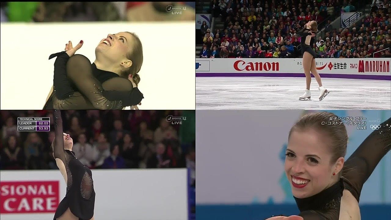 Carolina Kostner - Bolero 2013 and 2014 (split screen)