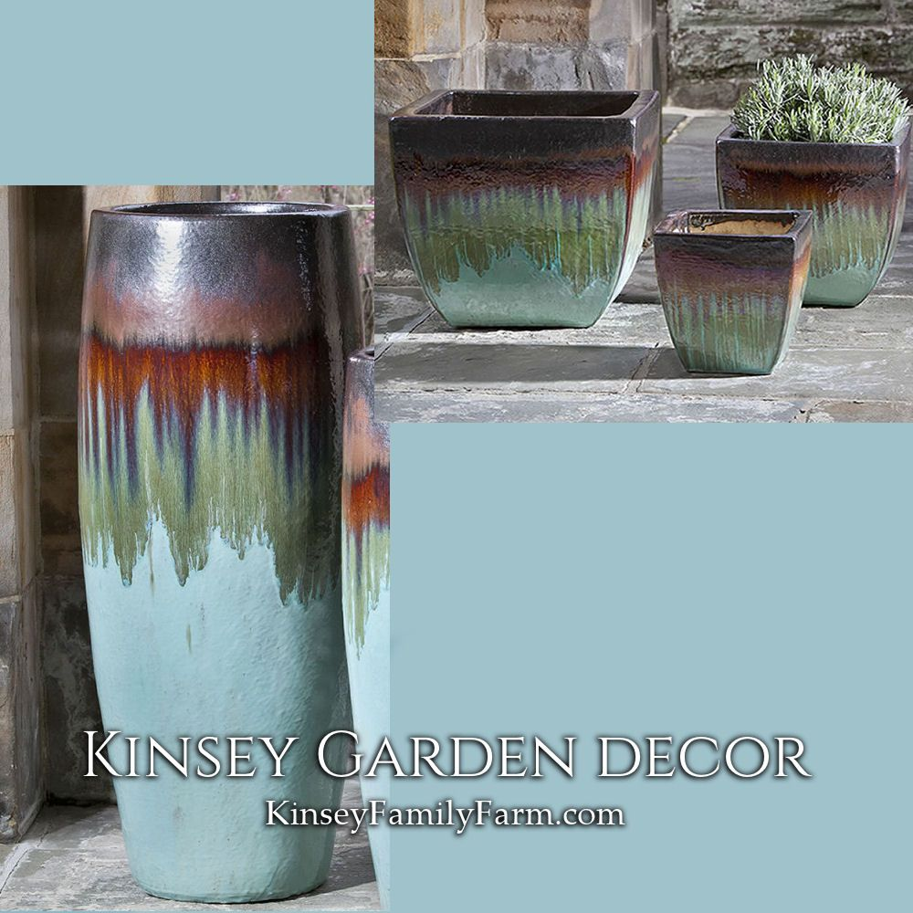 Kinsey Garden Decor Light Blue Ceramic Pottery Planters Extra Tall Short Square Indoor Outdoor Unique Pottery Pottery Planters Garden Decor Planters