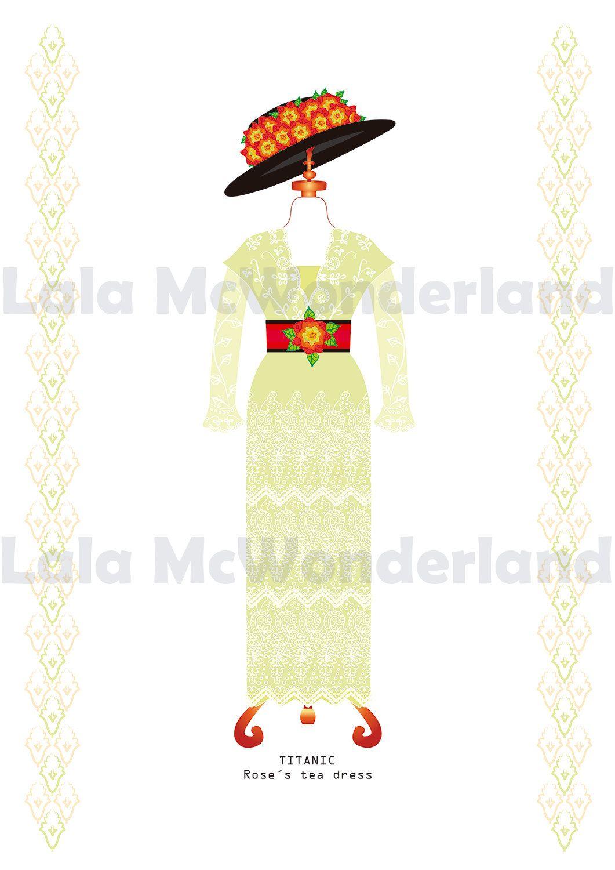 Titanic print : Roses Tea Dress - Fashion Wall Art - Fashion and ...