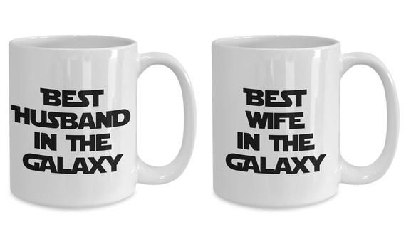 Husband Wife Mug Set Of 2 Best In The Galaxy Two Funny Gift For Nerd Sci Fi Lover Starwar Fan War Movie Themed Dark Side Coffee Tea Cup