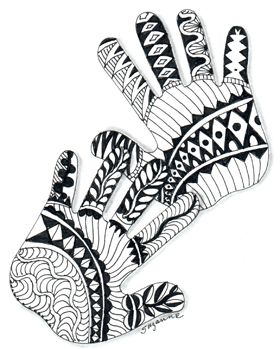 Zentangle #80.  You could do this in place of a traditional child's handprint.