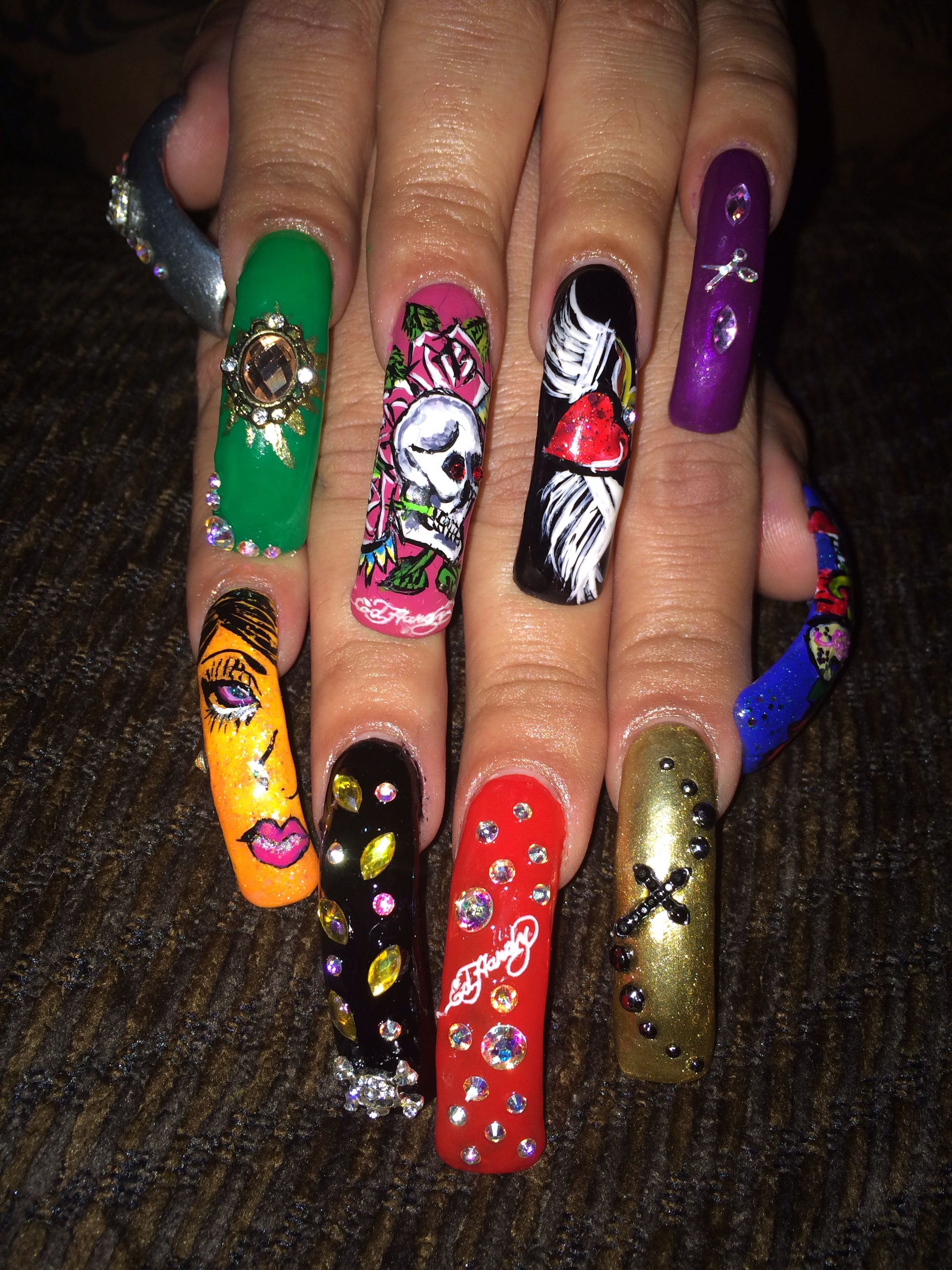My Ed Hardy Nails Love Them