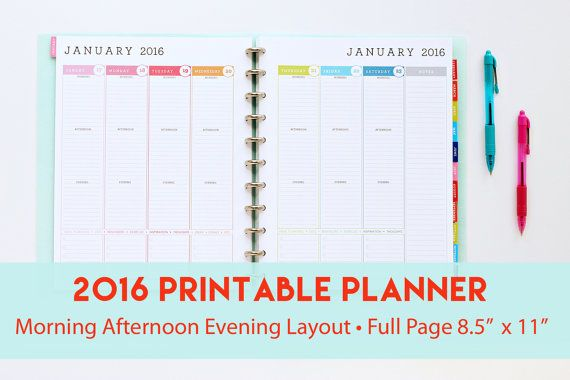 Printable Planner With Morning Afternoon Evening Layout