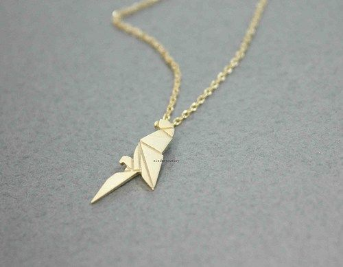 Origami parrot pendant necklace in gold silver n0524g origami simple and cute origami parrot necklace suitable for every party or costumeeasy to mozeypictures Image collections