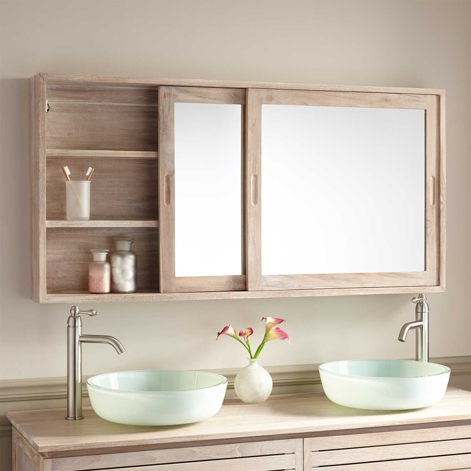 Teak bathroom storage cabinet - Beautiful And Useful The Wulan Teak Medicine Cabinet Is The Perfect Addition To A Bathroom In Need Of Additional Storage Space Behind The Sliding Mirrored