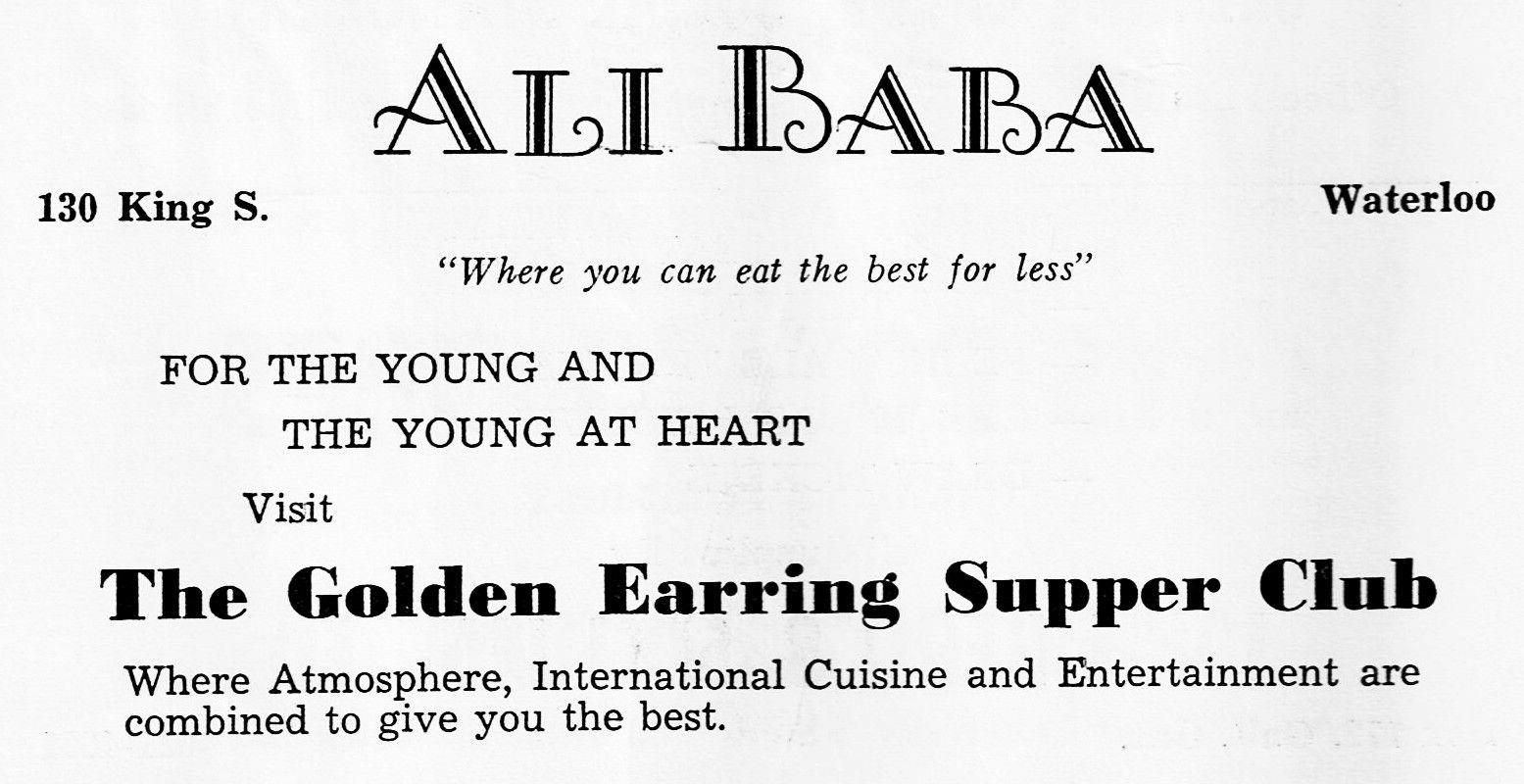 Advertising for the Ali Baba Restaurant in Waterloo.   Vintage ...