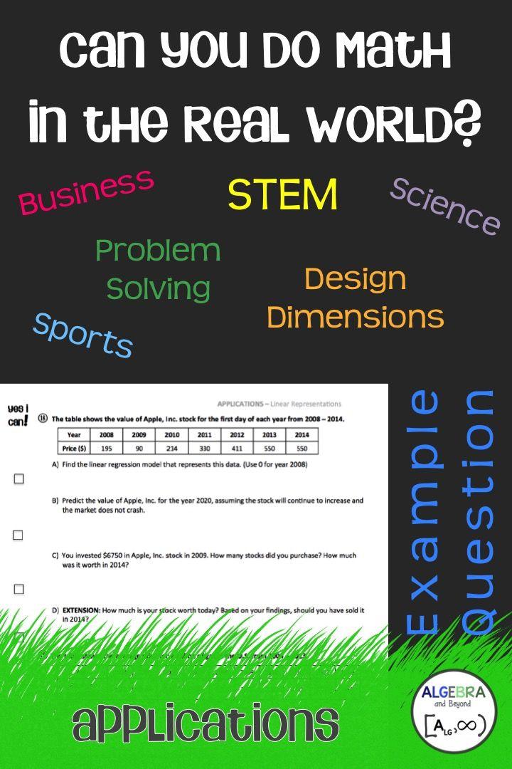 Real World Applications Bundle Algebra Math Word Problems