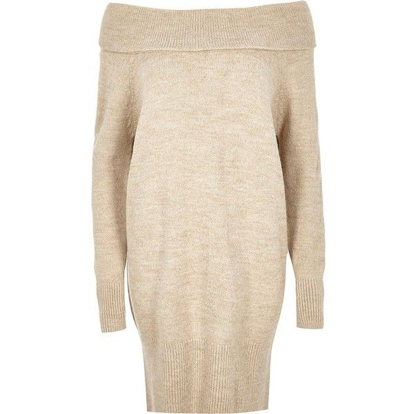 fba9ad9126 River Island Beige knitted bardot jumper dress ( 65) ❤ liked on Polyvore  featuring dresses